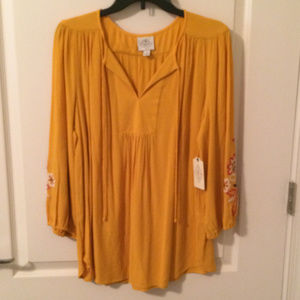 NWT St. John's Bay Gold Embroidered Sleeves Blouse